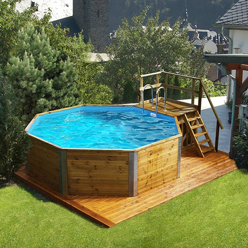 Holzpool pool aus holz als komplettset oder mit for Swimming pool holzpool
