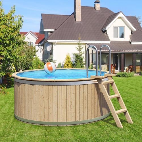 Holzpool pool aus holz als komplettset oder mit for Aufstellpool aus holz