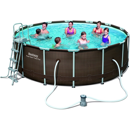 Frame Pool Set mit Rattan Optik